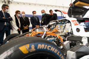 French Transport Minister Jean-Baptiste Djebbari (4th from the left side), during his test day of the MissionH24' GreenGT LMPH2G, Michelin testing center of Ladoux, 5th of October 2020. Copyright MissionH24/Michelin-Jérôme Cambier.